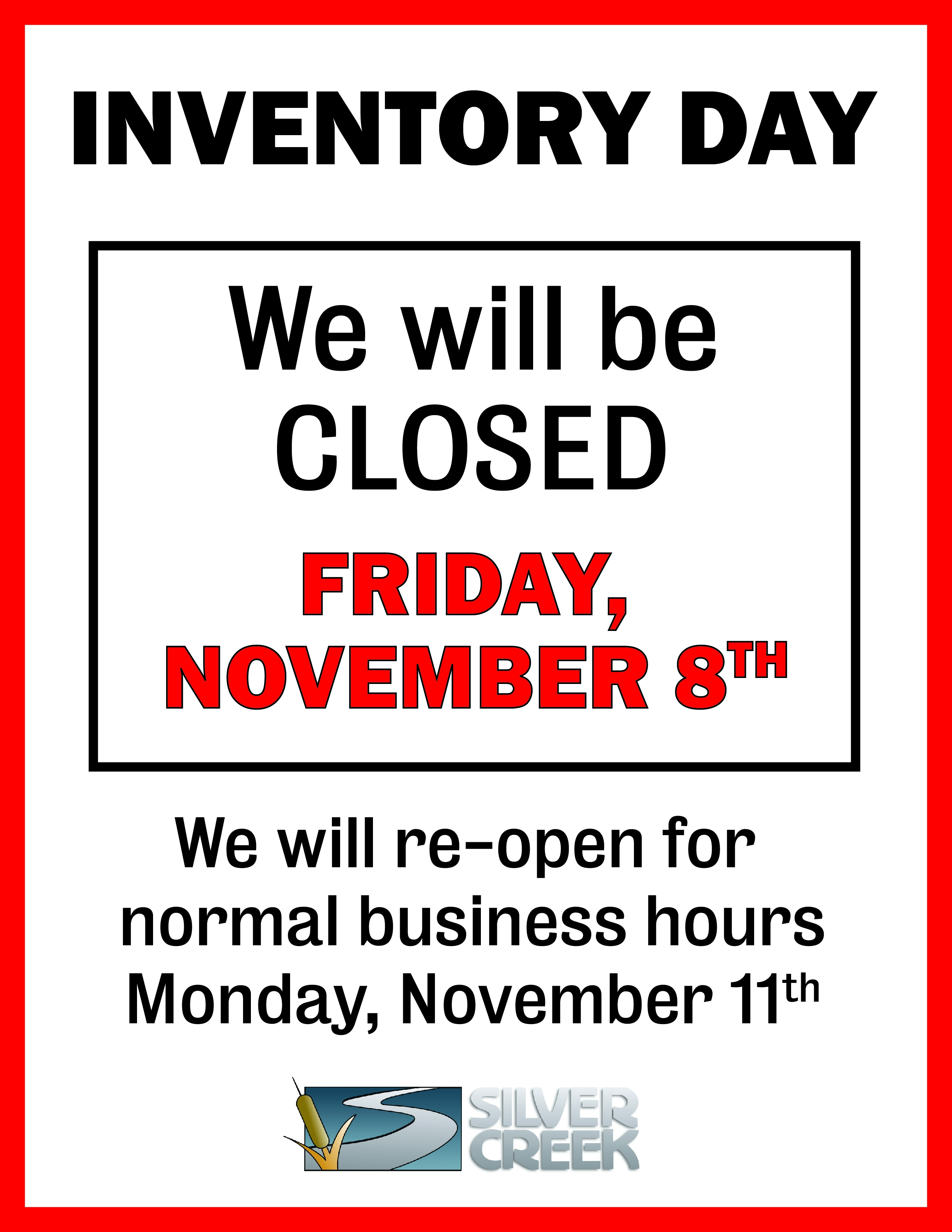 Inventory Day for All Branches EXCEPT for Jackson, WY
